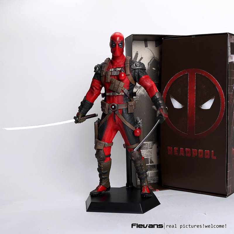 Crazy Toys Deadpool PVC Action Figure Collectible Model Toy 12 30cm red / sliver string sling pack