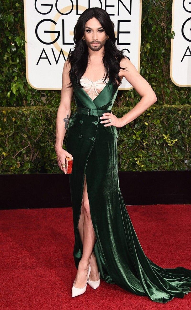 Fashion Y Conchita Wurst Celebrity Dresses 2016 Vintage V Neck Red Carpet Vestido Hot In Inspired From Weddings