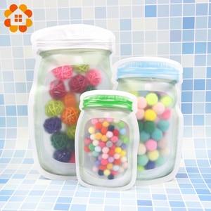 Image 5 - 5pcs/lot Convenient PE Mason Bottles Bags Nuts Cookies Candy Snacks Sealed Plastic Bag Home Decoration Storage Supplies