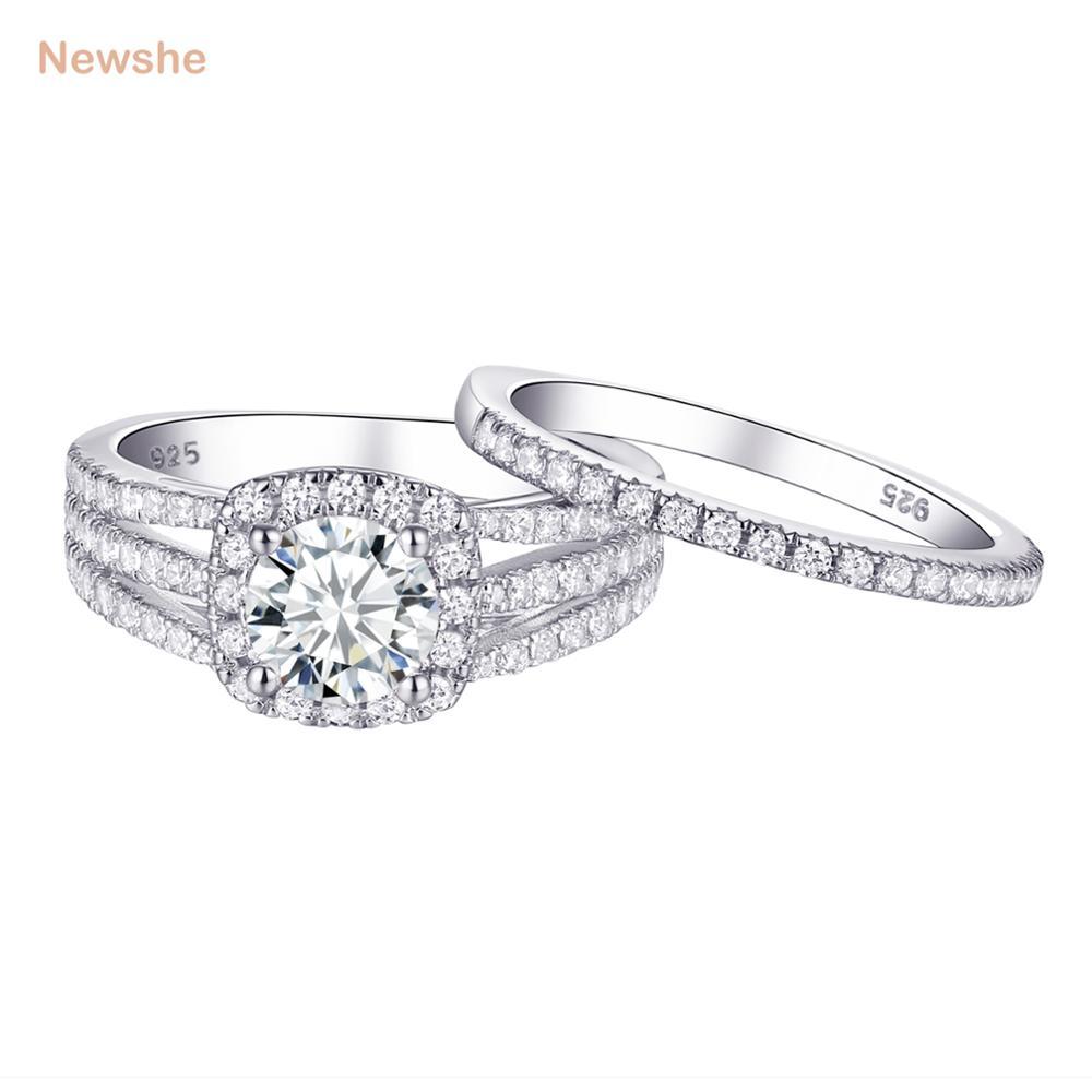 Bridal Round White Cz 925 Sterling Silver Wedding Engagement Ring Set Size 5-10