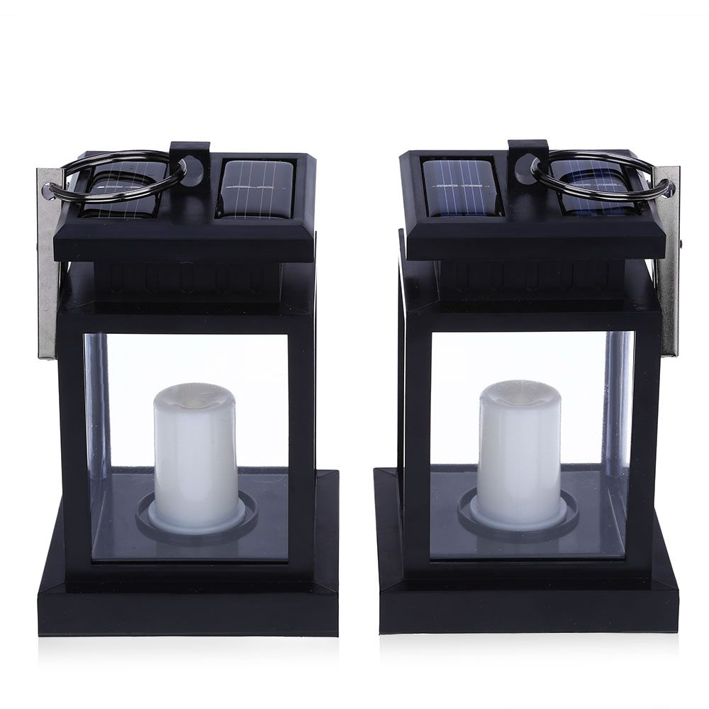 2PCS Solar Powered LED Outdoor Candle Lantern Outdoor Lamp Home Garden Decoration Light Warm White vintage led solar lantern lights outdoor hanging light candle lantern solar powered garden lamp for garden lawn patio