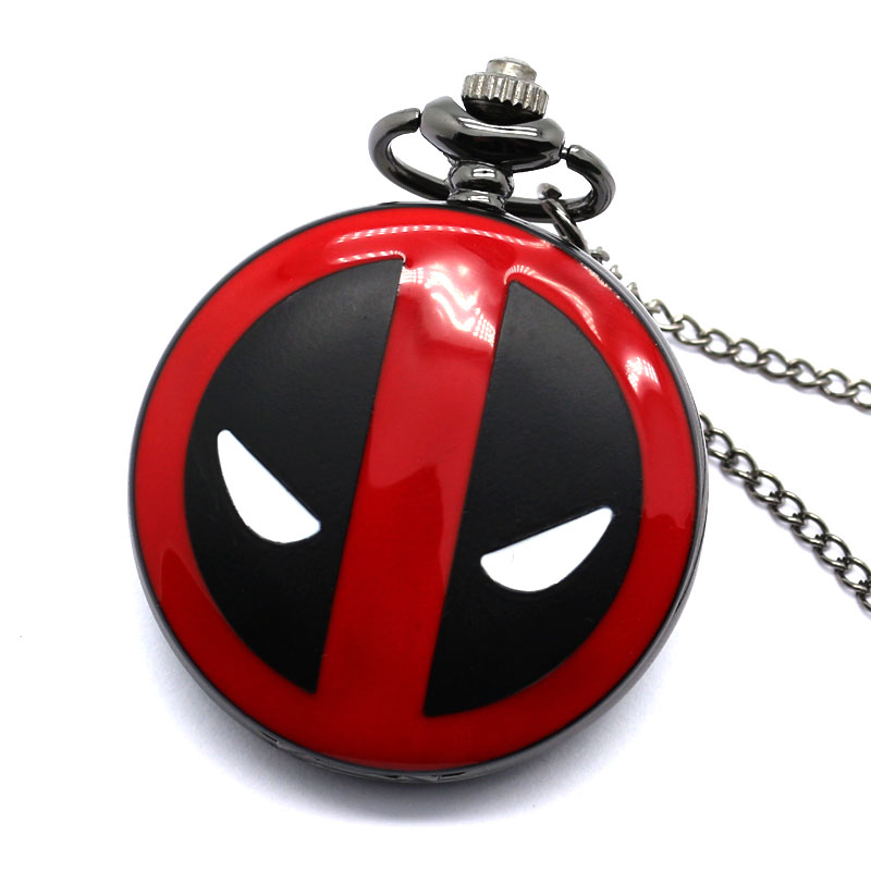 Relogio Feminino Cool Fashion Deadpool Theme Fob Pocket Watch With Black Chian Necklace Best Gift For Pocket Watch Children Loki