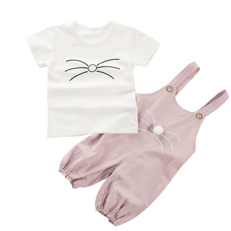 Baby Girl Clothing Set Summer Newborn Short Sleeves Character Cute Cat T-shirt Top+Pant Infant Baby Suits Children Clothing Sets