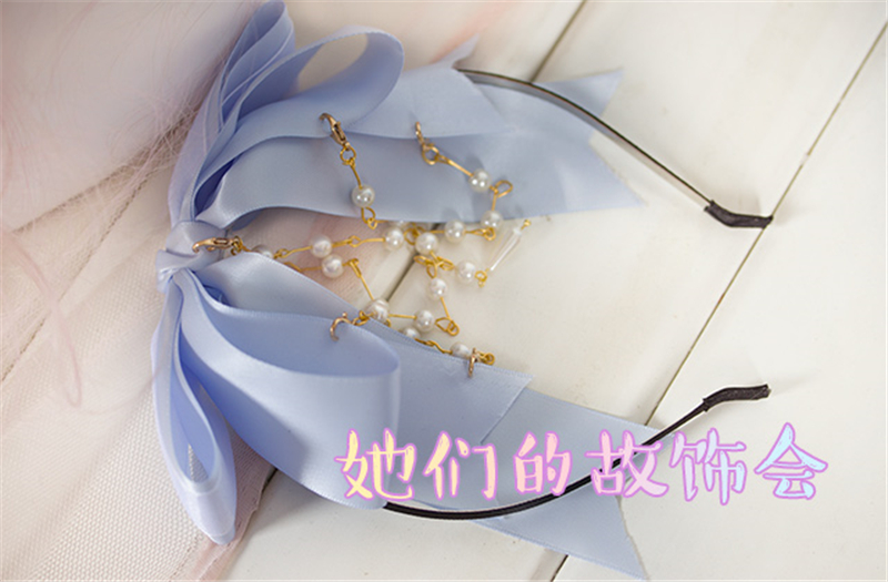 2017 hair accessories LOLITA bow headband bowknot hairdress pearl ribbon hairpiece Cosplay Accessories Free Shipping