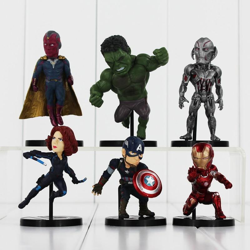 6Pcs/Lot New Arrival The Avengers Q Version Age of Ultron Hulk Spider Man Captain America Black Widow PVC Figure Toys