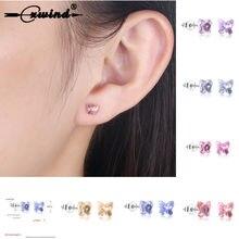 7bd20fd7f Cxwind Fashion Girls Butterfly Birthstone Stud Earrings Cubic Zirconia  Crystal Cross Earring for Women Statement brincos Jewelry