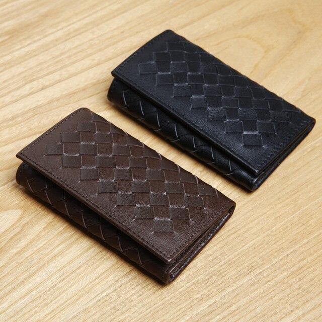 LAN free shipping fasihon men's leather woven key case cow leather key wallet woven key holder