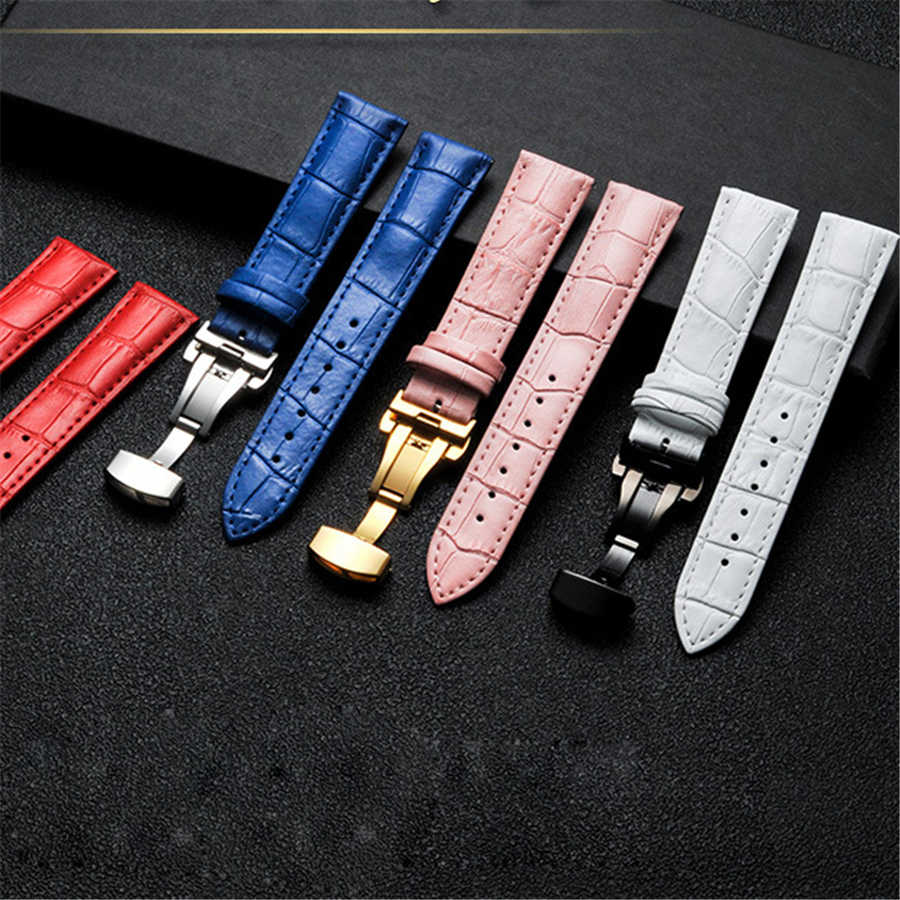 Genuine Leather Watch Band Strap Stainless Steel Butterfly Clasp 14mm 15mm 16mm 17mm 18mm 19mm 20mm 22mm 24mm Watchband Gift