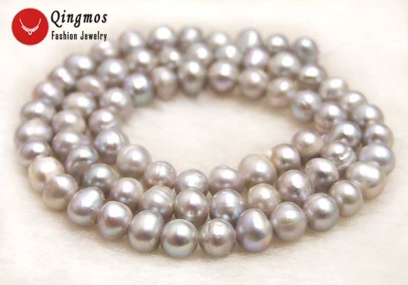 Qingmos 4-5mm Natural Gray Round Freshwater Loose Pearl Beads for Jewelry Making Necklace Or Bracelet DIY Strands 14-los752
