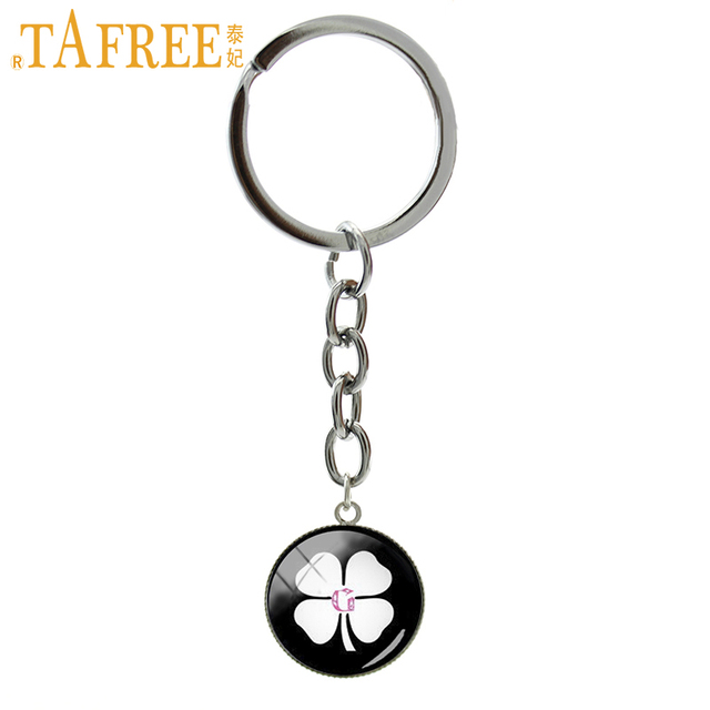 Tafree Lucky Jewelry Vintage Irish Clover Keychain Women Fashion Four Leaf Art Picture Key Chains