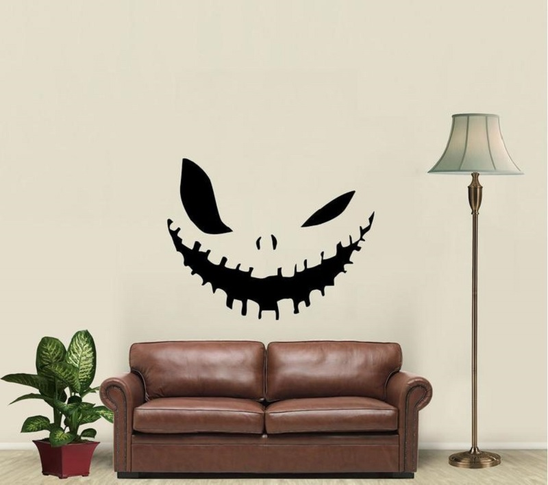 Evil Smile Halloween Wall Vinyl Applique Sticker Home Living Room Window Decal  WSJ11-in Wall Stickers from Home & Garden