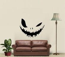 Mal sorriso halloween decoração decalque da parede de vinil decalque da família sala estar quarto janela arte decoração adesivo mural wsj11
