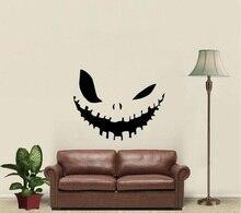 Sonrisa malvada decoración de halloween vinilo etiqueta de la pared de la familia sala de estar dormitorio ventana arte decoración pegatina mural WSJ11