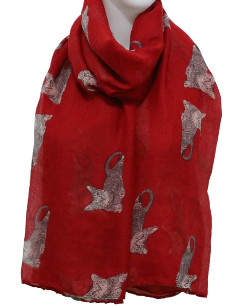 2018 Women New Arrival Cute Cat Print Long   Scarves     Wrap   Shawls