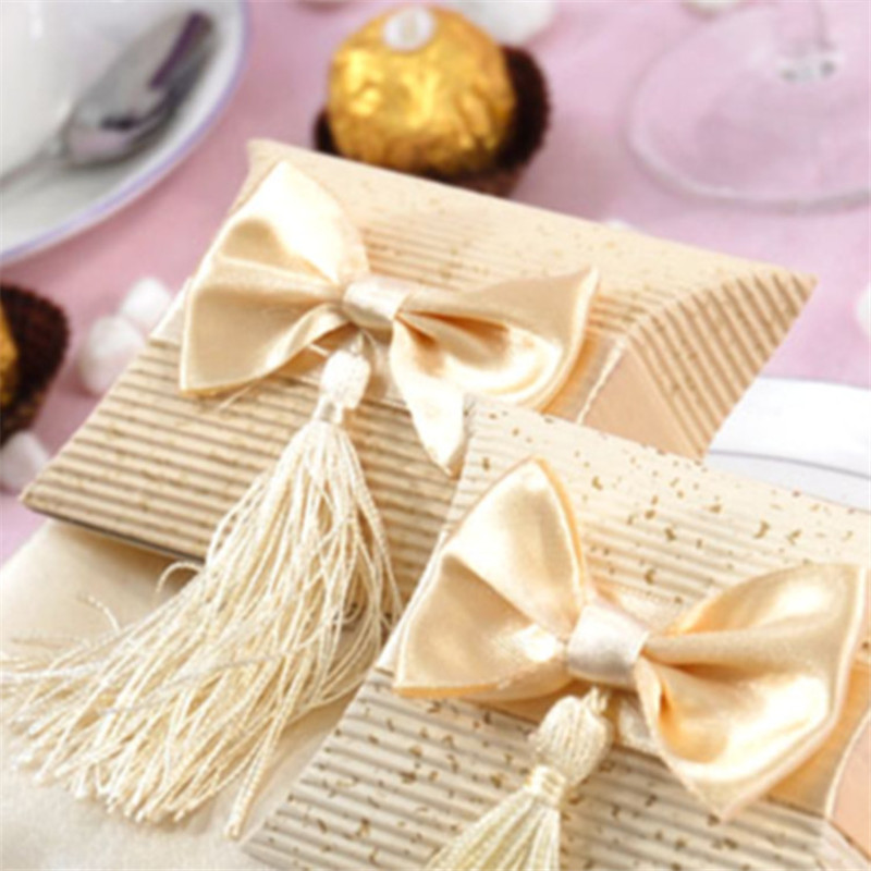 candy box tassels christmas box wedding gift box red beige 100pcs