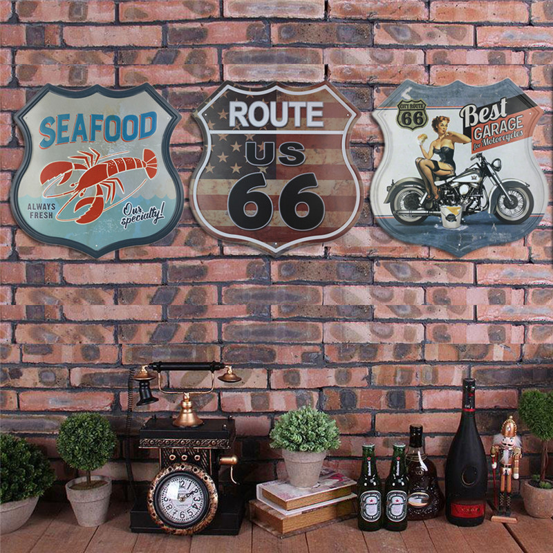 Shield Shaped Vintage Craft Tin Sign Retro Metal Painting Antique Poster Bar Pub Signs Plaque Wall Art Sticker Home Decoration