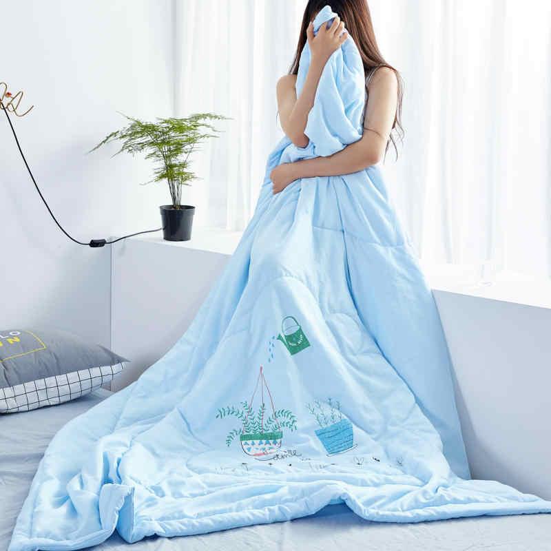 Мягкое кожаное вымытое хлопковое летнее тонкое одеяло голубого цвета бонсай, Крутое одеяло, высокое качество, домашний текстиль, оптовая продажа