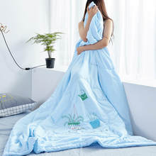 Soft Skin-friendly Washed Cotton Summer Thin Duvet Blue Bonsai Patterns Cool Quilt High Quality Home Textile Wholesale(China)
