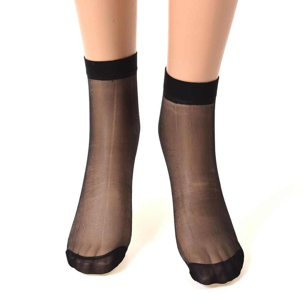10Prs Summer Skin Color Dot Transparent Thin Women Crystal Silk Socks Wvt #ea6