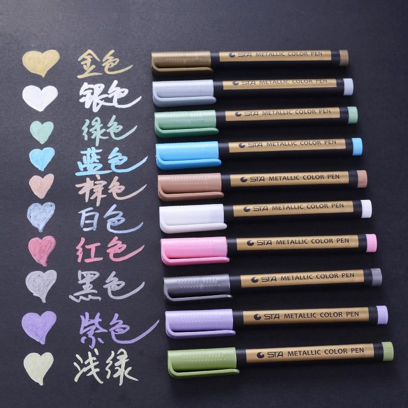 1Pc Metallic Marker Pens for Rock Painting Medium Point Paint Marker Pen for Ceramic Glass Doodling Journaling DIY Album Diary
