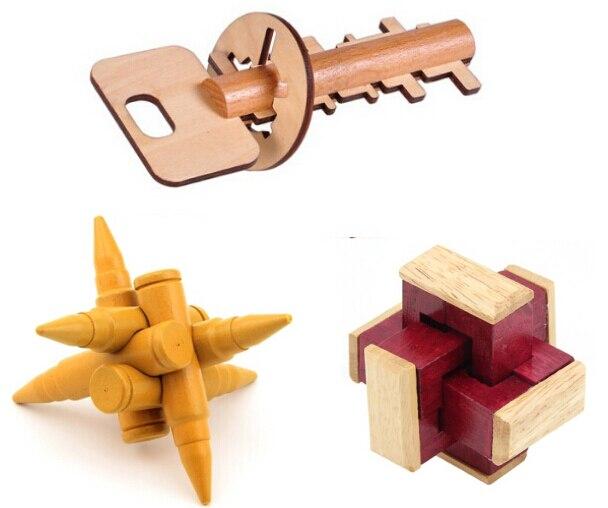 3 Шт./компл. Классический 3D Деревянный Burr Головоломки Mind Challenge Деревянные Головоломки Игры Игрушки для Взрослых Детей