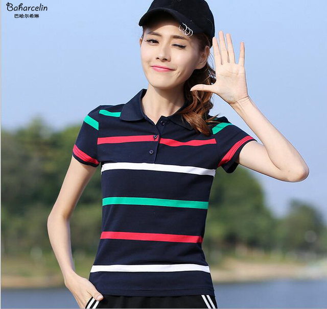 92cd73c790152 Baharcelin Plus Size Striped Polo Shirt Tops Tees women Gril Turn-down  Collar Short Sleeve Cotton Tops