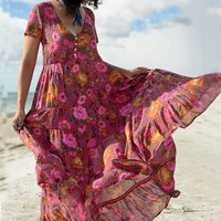KHALEE YOSE Daisy Floral Print Maxi Dresses Loose Women Summer Dress Button Front V neck Boho Hippie Beach Casual Dress 2019