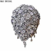 H & S BRIDAL Teardrop Wedding Bouquet 2019 ดอกไม้เจ้าสาวช่อดอกไม้ Handmade คริสตัล Bruidsboeket Waterval bouquet de mariage
