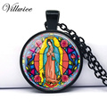 Free shipping Our Lady of Guadalupe Necklace Virgin Mary Sacred Heart Religious Stained Glass Bezel Art Pendant Necklace 2017