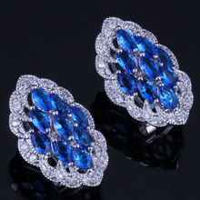 Admirable Marquise Blue Cubic Zirconia White CZ 925 Sterling Silver Clip Hoop Huggie Earrings For Women V0886