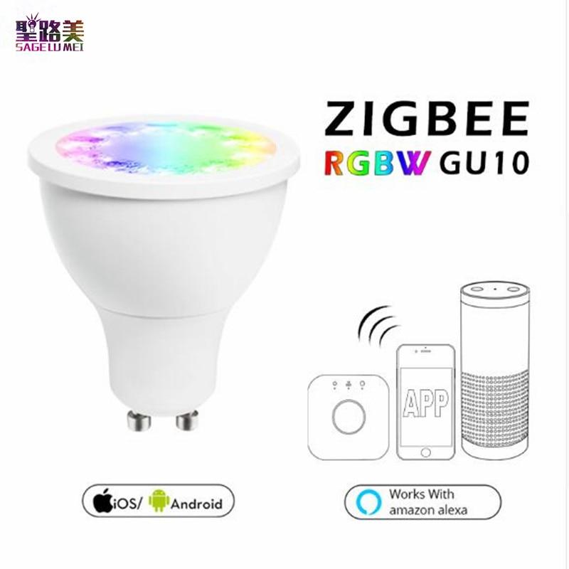 RGB Luce del Punto bianco caldo RGB GU10 Riflettore zigbee zll 5 W AC100-240V led APP smart phone APP lavorare con amazon Echo più led