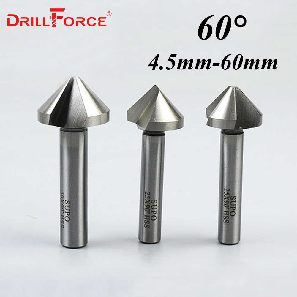 4.5-60mm HSS 3 Flute 60 Degree Chamfer Countersink Drill Bits(4.5/5/6.3/8.3/10.4/12.4/14/16.5/18/20.5/23/25/30/35/40/45/50/60mm)