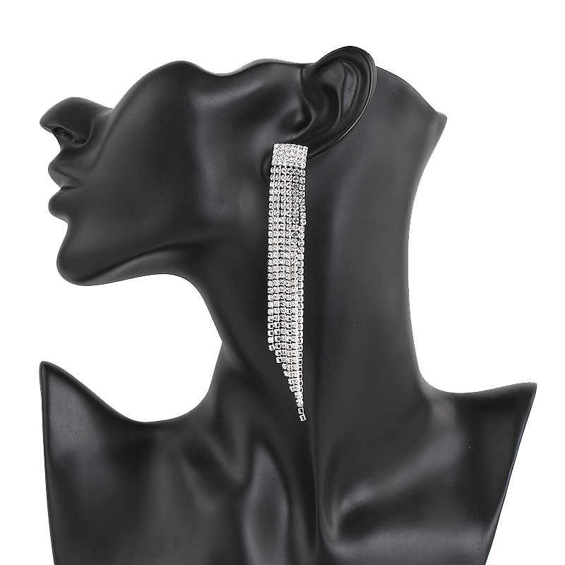 Treazyファッションクリスタル長いイヤリング女性のためのシルバーカラーラインストーン花ブライダルウェディングイヤリングウエディングジュエリーファムbrincos