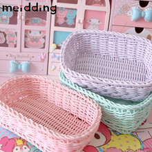 MEIDDING 1Pcs DIY Home Decorations Rattan Storage Basket Birthday Party Lundary Box Wedding Decorations Party Supplies Pink Box