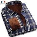 Langmeng 2016 Nueva Llegada de Los Hombres Camisas 100% de Algodón Para Hombre Camisa de Vestir de Invierno de Manga Larga Caliente de Terciopelo Camisas Ocasionales Camisa Masculina
