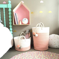 Nordic Style Cotton Storage Laundry Basket Baby Kid's Room Decor Basket with Handle