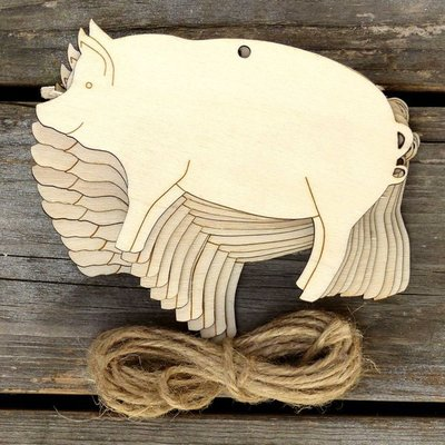 10pcs Wooden Pig Hanging Oraments DIY Wood Wishing Tags Christmas Tree Decoration for Home Pendants with Hemp Rope Craft