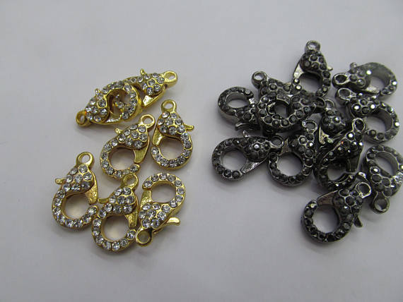 Gros 50 pcs fermoir pavé Micro cristal pavé diamant fermoirs bijoux fermoir Gunmetal argent Rose or hématite bijoux fermoirs 12- - 5