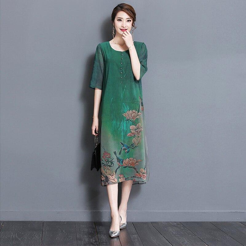 Sakazy Estate Più Il Formato di Stile Cinese Stampato Midi del Vestito Delle Donne Eleganti di Alta Qualità Haut Party Dress Robe Abiti Vintage