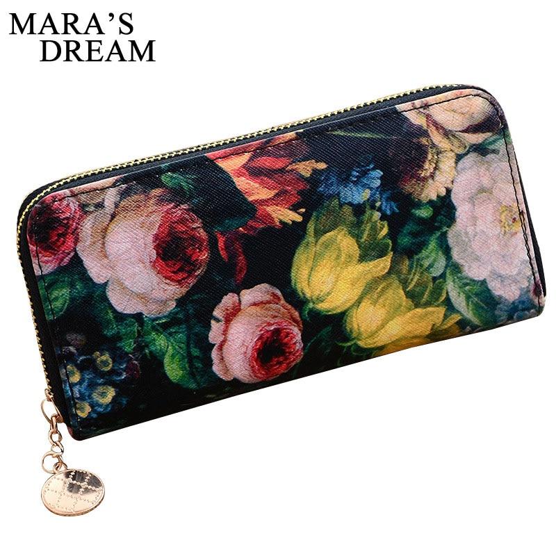 купить Mara's Dream Women Wallets Flower Female Bag Ladies PU Leather Slim Wallets Money Coin Women Clutch Long Wallet Carteras Mujer по цене 339.31 рублей