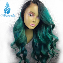 SHD Ombre Lace Front Wigs Green Colored Human Hair Brazilian Remy Gluelss Pre Plucked With Baby