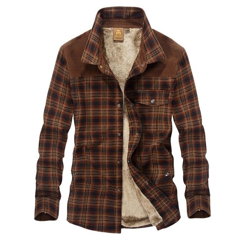 Brand Shirt Men Casual Shirts Wool Fleece Thick Warm Shirts Men Plaid Military Shirt Men M-3XL Handwork Camisa Denim Hombre