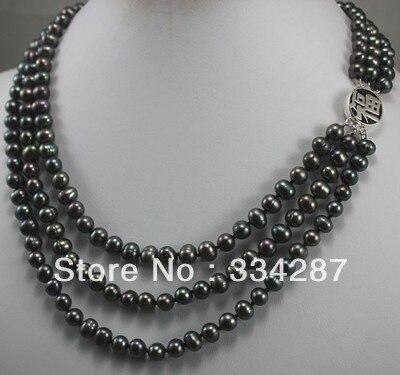 100% Venta de Imagen completa 3 colores! niza 3 fila 7-8mm blanco/rosa/negro de la perla collar bendiga felicidad clas