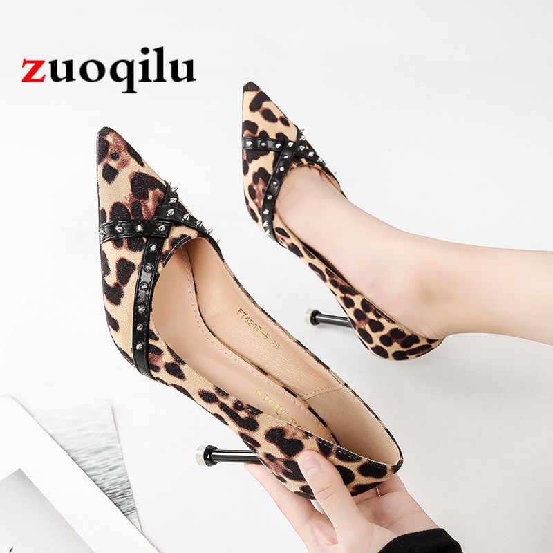 2b8a6b5a20fcdc Sexy Leopard print rivet high heels shoes women pump heels female shoes  women pumps wedding party