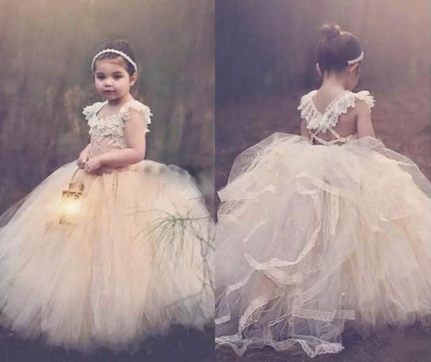 Ball Gown Flower Girls Dresses 2018 Jewel Sleeveless Lace Up Back Long Girls Dresses For Wedding Lace Appliques Pageant Gown orange puffy flower girls dresses for weddings jewel organza lace girls pageant dress open back lace up kids birthday gown