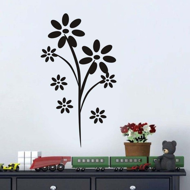 Simple Flowers Wall Stickers For Living Room Removable Vinyl ...