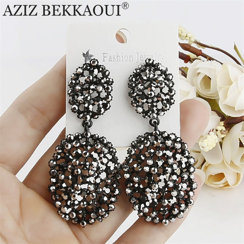 AZIZ BEKKAOUI Trendy Black Crystal Long Dangle Earrings for Women Fashion Wedding Jewelry Water-drop Shape Earring Lady's Brinco