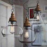 Лампа Тенты люстра дерево Стекло обеденный Подвеска магазинов Творческий Люстры деревянный свет семинар бар магазин огни