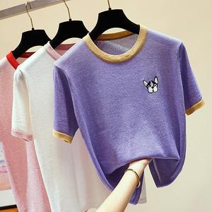Pies haftowane kobiet koszulki na drutach luźne koszulki z krótkim rękawem kobiet swetry 2019 lato bluzki swetry różowy biały O-neck