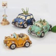 11 Patterns Retro Car Shape Resin Flowerpots for Home Garden Decorations Roogo Hot Sale Creative Tablepot Planter Pot Child Gift